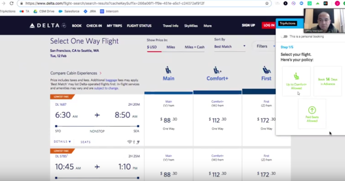A workshopping version of the plug-in that directed travelers from TripActions' platform to Delta's website to complete Delta bookings. The airline has insisted TripActions discontinue its use.
