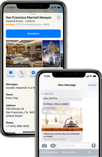 "A ""Message"" icon appears in Apple Maps to enable Apple Business Chat, and the interface includes links, images and menu-driven responses."