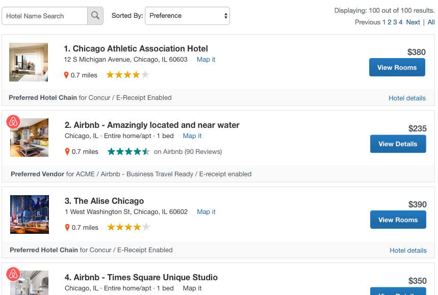 Sample Concur Search Results