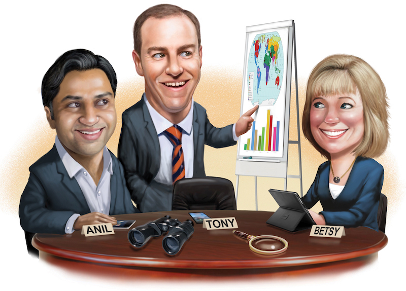 Cvent SVP of enterprise sales & partnerships Anil Punyapu, CWT Meetings & Events VP of the Americas & South Pacific Tony Wagner & strategic meetings consultant Betsy BondurantCredit: Illustration by Scott Pollack
