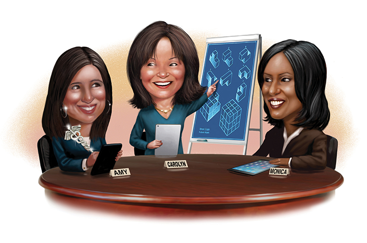 Genentech North America strategic meetings manager Amy Perrone, Cisco senior global meetings & events manager Carolyn Pund & Shire head of global meetings & events Monica DickensonCredit: Illustration by Scott Pollack