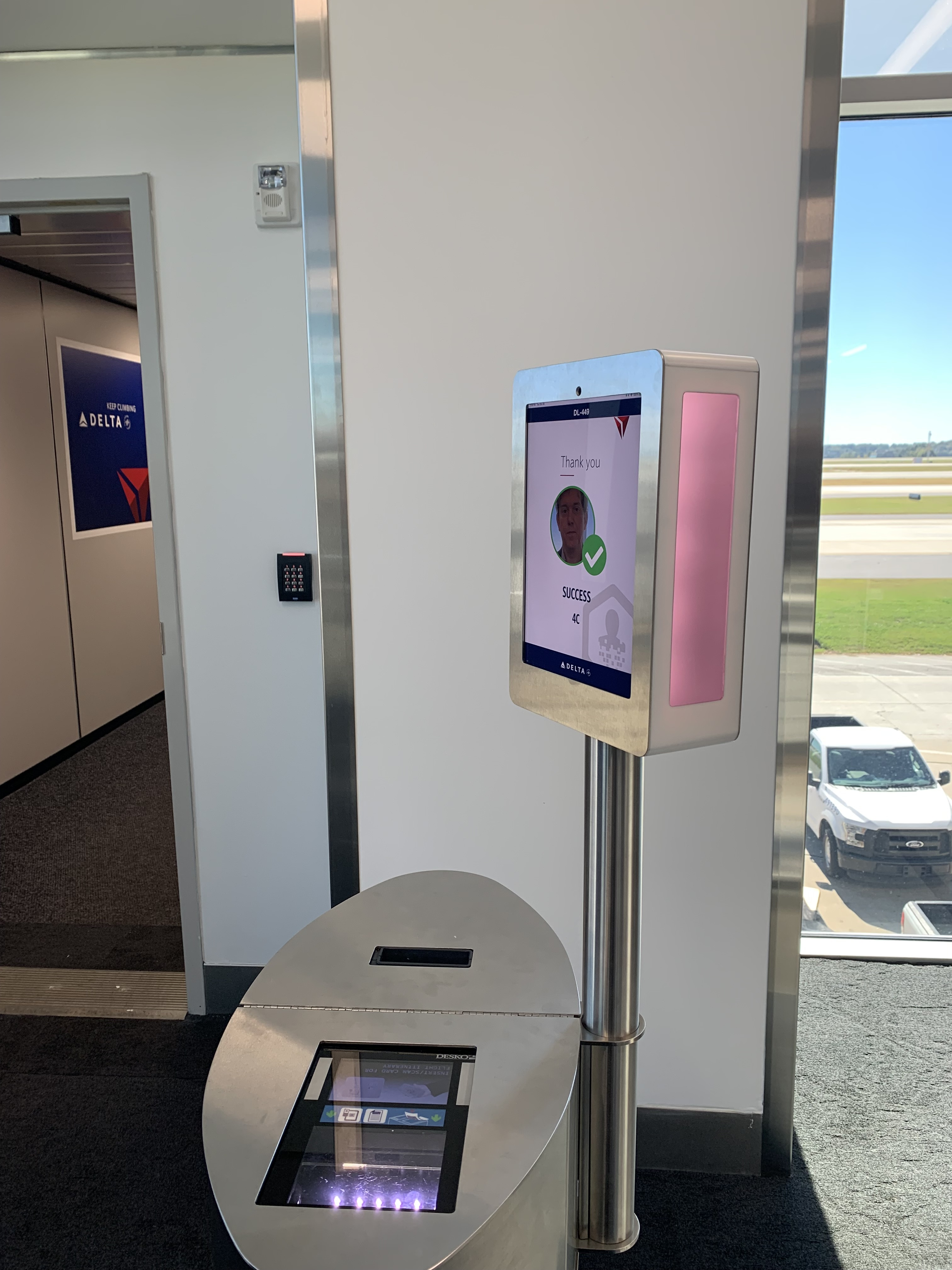 Facial-recognition equipment at the gate conducts a scan to let the passenger through, without the need to show identification or a boarding pass.